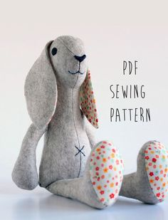 Rabbit sewing pattern, sew your own soft toy Bunny - instant download pdf pattern - sewing projects by CraftyKooka on Etsy
