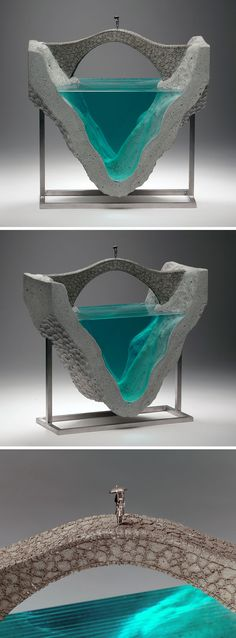 Inspired by landscapes of oceans and bodies of water, Ben Young creates concrete and glass sculptures and each of his pieces are hand drawn, hand cut and hand crafted. art sculpture Glass And Concrete Sculptures By Self-Taught Artist Ben Young Concrete Sculpture, Concrete Art, Sculpture Art, Resin Crafts, Resin Art, Art Concret, Table Beton, Urbane Kunst, Toy Art