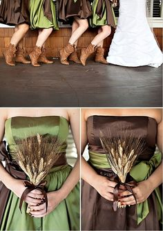 A couple of good rustic wedding ideas...slouch cowgirl boots on the bridesmaids. Wheat as bouquets instead of flowers. - Click image to find more weddings posts