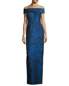 Off-the-Shoulder+Floral+Jacquard+Column+Gown,+Blue+by+Rickie+Freeman+for+Teri+Jon+at+Neiman+Marcus.