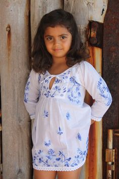 Kids kaftan white with blue hand embroidery on Etsy, $48.86