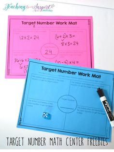 FREE Math Center for Upper Elementary. Grab these free target number mats for an instant center that really gets the students thinking about numbers and math. Math Resources, Math Activities, Math Games, Fifth Grade Math, Fourth Grade, Sixth Grade, Math Enrichment, Math Intervention, Math Tutor
