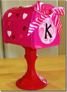 Inexpensive Valentine's Day Craft! Mail box from Target $ section, and painted candle vase from Dollar Tree!