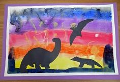 D is for Dinosaur Art (painted backgrounds)