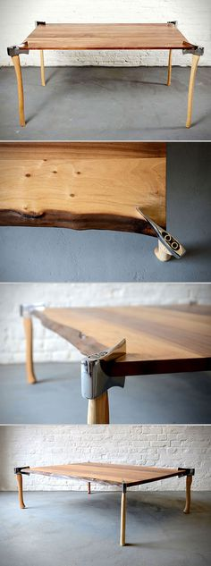 Using axes as legs on a wooden table is some kind of magical Bunyanesque synergy that we can't even begin to understand. But lo and behold, this is what we're looking at here, and we like it a lot.