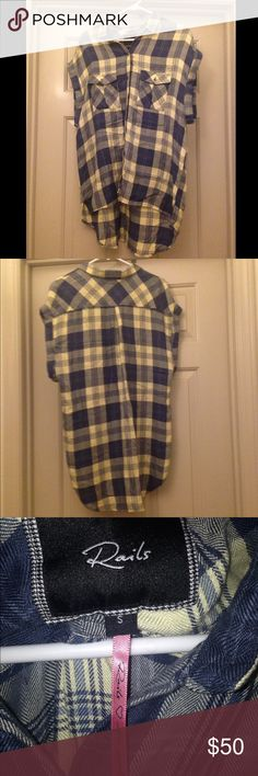 Rails Brand Flannel Size small short sleeve Rails Brand flannel top. Preloved and oversized. Rails Tops