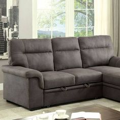 Superb BLAIRE SECTIONAL Graphite Finish