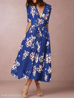 Surplice Fashion Belt Printed Maxi Dress Fashion girls, party dresses long dress for short Women, casual summer outfit ideas, party dresses Fashion Trends, Latest Fashion # Polka Dot Maxi Dresses, Floral Skater Dress, Casual Dresses, Dress Outfits, Summer Dresses, Summer Maxi, Women's Dresses, Cheap Dresses, Summer Outfits