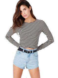 Stylish stripe long sleeve T shirts CY-C0106A6