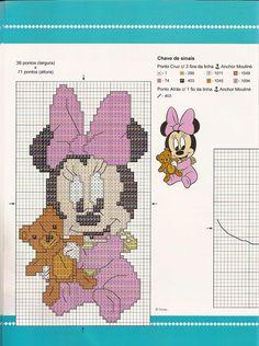 Baby Minnie w/ teddy Baby Cross Stitch Patterns, Cross Stitch For Kids, Cross Stitch Baby, Cross Stitch Charts, Disney Stitch, Mickey Mouse, Crochet Cord, Stitch Cartoon, Perler Bead Art