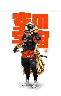 Arte Ninja, Urban Samurai, Samurai Art, Arte Cyberpunk, Cyberpunk Fashion, Steampunk Fashion, Gothic Fashion, Character Concept, Character Art