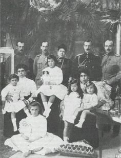 """""""Grand Duchess Maria Pavlovna surrounded by her family: Grand Dukes Kyril, Boris and Andrei, Kyril´s wife Victoria and daughters Maria and Kyra, and Grand Duchess Elena with husband Prince Nicholas of Greece and their three daughters Olga, Elisabeth..."""