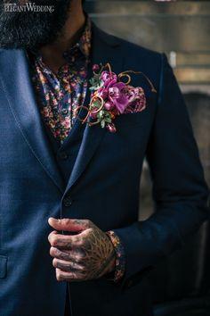 Edgy alternative suit for a groom, purple boutonniere, wedding ideas, wedding inspiration, tattoos EDGY, URBAN, ROMANTIC WEDDING INSPIRATION www.elegantwedding.ca