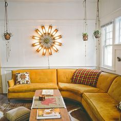Hanging Leather Pots and Yellow Accents #inspiration