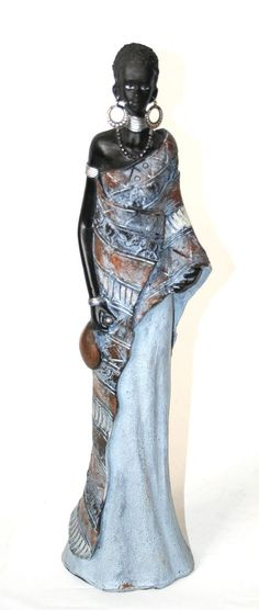 Stunning Large African Masai Women Figurine Sculpture - Decorative.