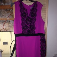 Fuchsia dress with lace panel. 20W Fuchsia  dress with lace side panels. 20w. V neckline. Black lace panels overlay on the fabric. Side lace panels offers a sliming effect. Zipper back closure. Semi stretch to the knitted like polyester fabric. Classic shaping. Sleeveless sheath. Great for office or sheath. In new condition. Never worn Beautiful find!!! Danny and Nicole Dresses Midi