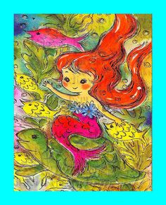 FABRIC BLOCK s498 Vintage Merbaby Mermaid 1950s Retro by wwwvintagemermaidcom, $7.00