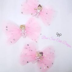 Ballet tulle pink hair bow clips/ girls hair bows/ ballet bow/