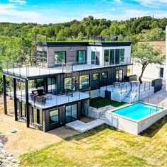 This huge shipping container home in Lago Vista, Texas. Comment below - Shipping Container Tiny House or This! Shipping Container Buildings, Shipping Container Home Designs, Shipping Containers, Shipping Container Swimming Pool, Shipping Container Cabin, Tiny House Design, Modern House Design, Building A Container Home, Tiny Container House