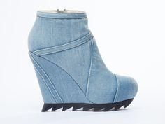 Camilla Skovgaard Ankle Wedge Boot in Denim Blue at Solestruck.com