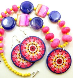 Radiant Orchid Accessories, Decoupage Jewelry by JewelryByJolanta Diy Decoupage Earrings, Decoupage Ideas, Mandala Coloring, Pink Yellow, Color Combinations, Friendship Bracelets, Orchids, Palette, Fashion Jewelry