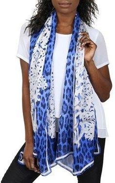 Roberto Cavalli C3802b670 320 Blue Animal Print Silk Chiffon Scarf.