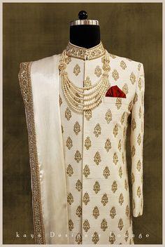 classy mens fashion looks fab Sherwani For Men Wedding, Wedding Dresses Men Indian, Wedding Outfits For Groom, Groom Wedding Dress, Sherwani Groom, Mens Sherwani, Wedding Suits, Kurta Men, Punjabi Wedding
