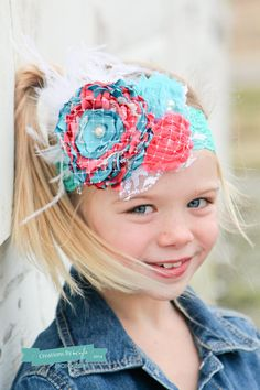 Teal and coral couture Headband with pearls lace net by verosjoy, $22.00