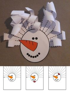 Our snowman can have curly hair. Preschool Christmas, Christmas Art, Winter Christmas, Winter Art, Winter Theme, Kindergarten Art, Preschool Crafts, Winter Crafts For Kids, Diy For Kids