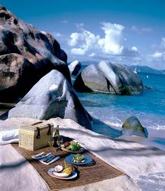Beach picnic-sure thing.  Little Dix Bay Virgin Gorda
