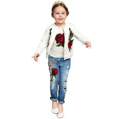 (26.07$)  Watch here  - 2016 spring autumn baby girls clothing sets cowboy 3 pieces coat + T shirt+ jeans fall kids clothes outfits cute
