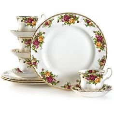 Royal Albert Old Country Roses 12-Pc. Service for 4 (€135) ❤ liked on Polyvore featuring home, kitchen & dining, no color and royal albert