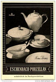"""Original-Werbung/Anzeige 1954 - ESCHENBACH PORZELLAN / """"IRENE"""" - ca. 65 x 110 mm"""
