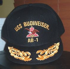 b0d2e8c5417 USS BUDWEISER AB-1 ball cap w  ADMIRAL EGGS . This is a custom made FITTED ball  cap with ball cap back embroidery. HATS OFF