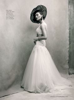"""Editorial titled """"La Femme"""" for the Fall/Winter 2012 issue of Weddingbells magazine paying homage to legendary fashion photographer Irving Penn. Photographed by Chris Nicholls. Styled by Tara Williams. Editor: Alison McGill. Model: Alyssa from Elmer Olsen Model Management.Hair and Makeup: Tony Masciangelo."""