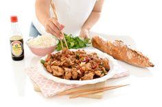 Pollo al estilo Cantonés con verduras | Velocidad Cuchara Asian Recipes, Ethnic Recipes, Kung Pao Chicken, Veggies, Meat, Cooking, Healthy, Food, Rice
