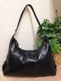 7d992266e69d BOOTS N BAGS Black Snakeskin Embossed Colombian Leather Shoulder Handbag  Bag VGC  BootsnBags  ShoulderBag