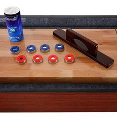 Shop Challenger 9-Ft Shuffleboard Table - Dark Cherry Finish - Overstock - 6217673 Diy Table Saw, A Table, Mdf Cabinets, Shuffleboard Table, Humid Weather, Man Cave Home Bar, Cherry Finish, Table Dimensions, Finger Joint