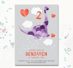 Dinosaur Invitations Dinosaur Party Invite by MotifVisuals on Etsy