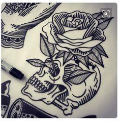 skull rose flower tattoo