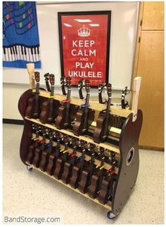 Instrument storage carts and Stands For your school music classroom. Drum Lessons, Music Lessons, Guitar Storage, Cool Ukulele, Ukulele Songs, Drum Chair, Middle School Music, Kalimba, Music Decor