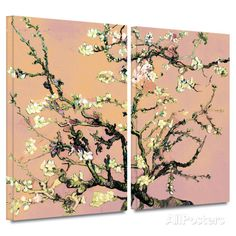 3-Piece Interpretation in Eggshell Almond Blossom 2 piece gallery-wrapped canvas Prints by Vincent van Gogh at AllPosters.com