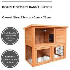 Double Storey Large Wooden Rabbit Guinea Pig Hutch Metal Cage Timber X Pet New  #pet #pets #rabbit #guineapig #rabbithutch