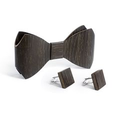 Bow Tie And Cufflink Set - Black Oak - Bug Wooden Accessories - 1