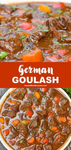 German Goulash (One Pot Comfort Food!) Wholesome ingredients and melt-in-your-mouth tender chunks of meat makes eating German goulash is an intense experience of awesome proportions. Soup Recipes, Dinner Recipes, Cooking Recipes, German Recipes Dinner, Easy Cooking, Gulosh Recipe, One Pot Meals, Easy Meals, German Goulash