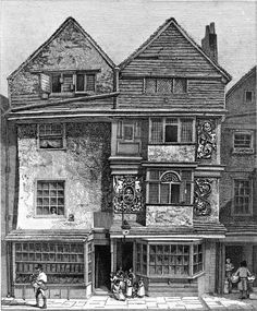 Houses on the South Side of London Wall – Drawn March 1808 London 1800, 19th Century London, Victorian London, Vintage London, Old London, Victorian Era, 18th Century, London Wall, London House