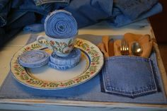 jeans recycled into placemats, coasters etc  I have to show Bob this...