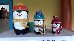 Pinguins - reciclagem de garrafa pet