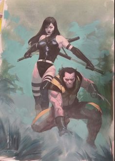 Psylocke and Wolverine by Esad Ribic *