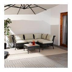 KUNGSHOLMEN / HÅLLÖ 4-seat sectional, outdoor, black-brown, beige - black-brown/beige - IKEA